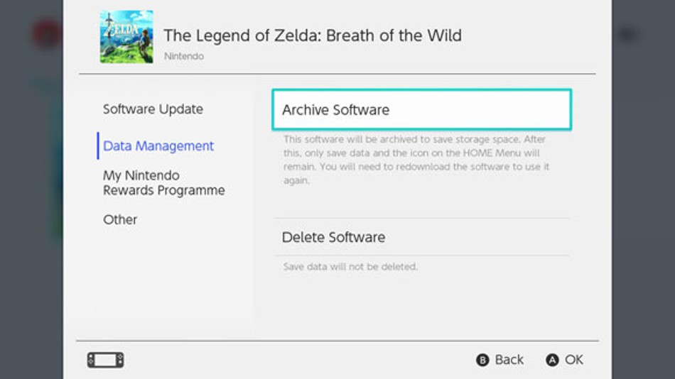 Nintendo Switch game data management screen highlighting available options.