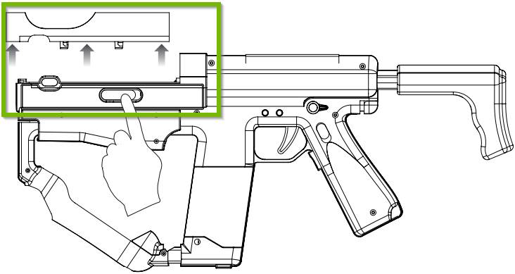 Side view of Sharp Shooter with release latch highlighted. Diagram.