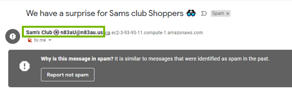 A sam's club scam email with the email address circled