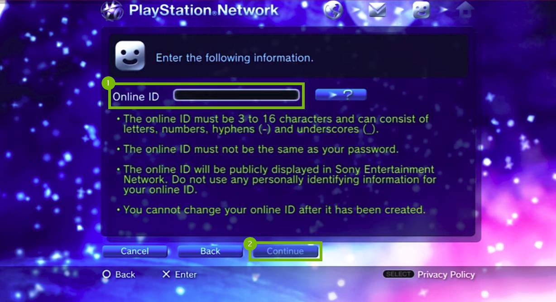 Pick an Online ID. Screenshot.
