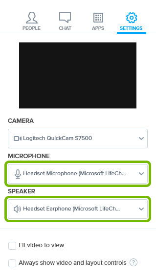 Selected microphone and speaker devices highlighted in Settings of BlueJeans app.