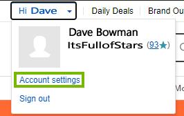 Account settings in the drop down menu