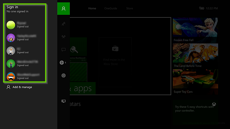 Xbox showing the home menu and sign in options.