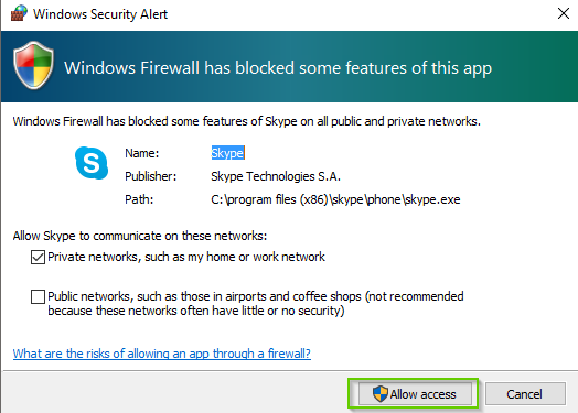 Windows 10 firewall popup with Allow selected