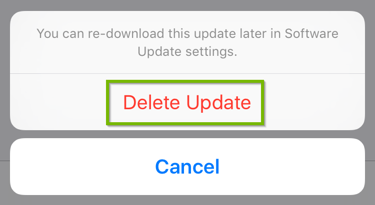 iOS delete update confirmation prompt.