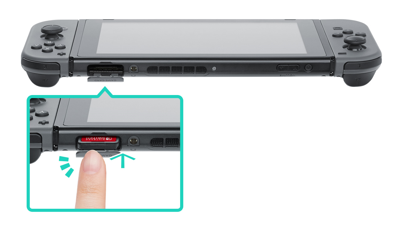 Inserting a game cartridge into the Nintendo Switch. Illustration.