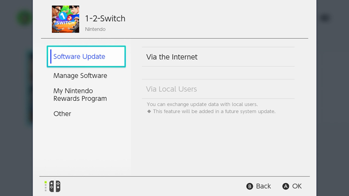 Nintendo Switch game options menu highlighting the software update button.