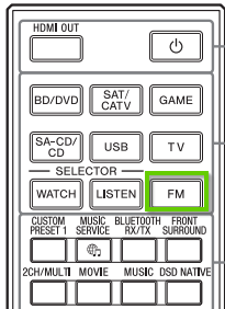 The sony avr remote showing the FM button.