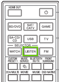 A sony remote showing the listen button.
