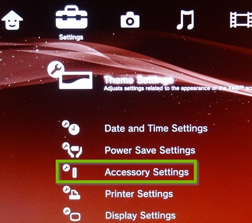 Settings menu with Accessory Settings selected. Screenshot.
