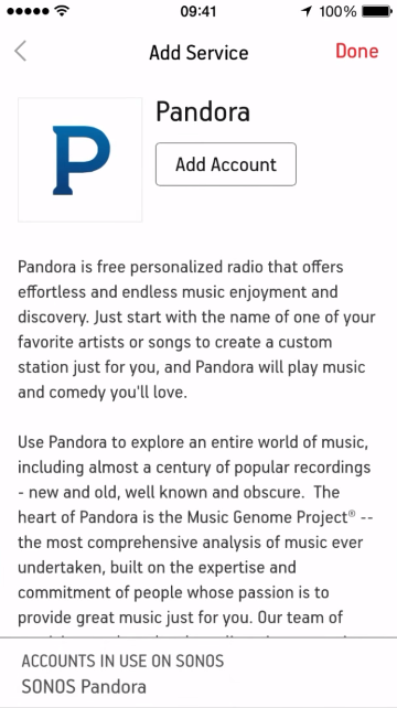 Finishing up or adding another account for music service