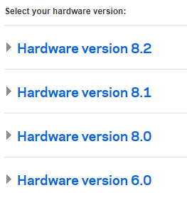 List of example hardware versions: Hardware version 8.2, Hardware version 8.1, etc. Screenshot.