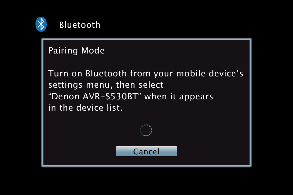 Denon receiver on-screen display for Bluetooth pairing mode.