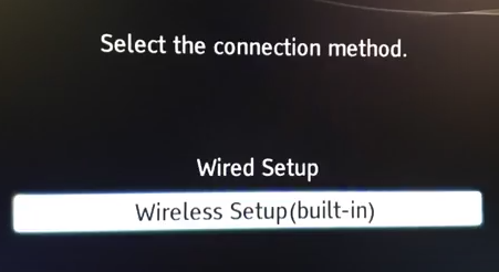 Internet setup menu showing wireless setup selected