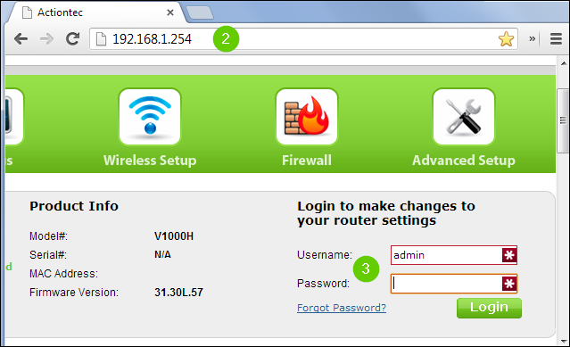 A chrome web page showing the router address 192.168.1.254 and the router log in.