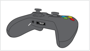 Xbox One controller with 3.5mm port highlighted.