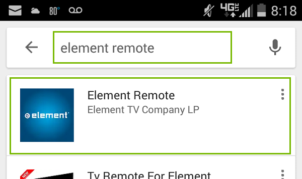 Element Remote App Android Search. Screenshot