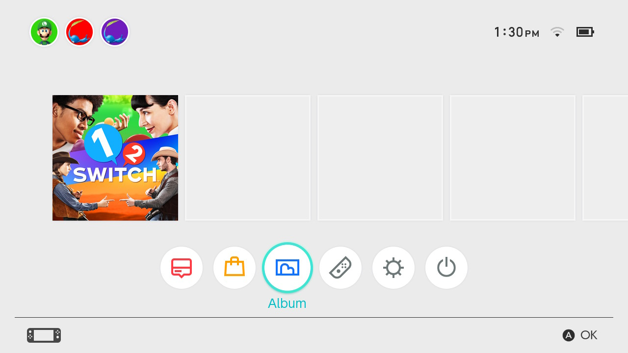 Nintendo switch home menu showing album highlighted.