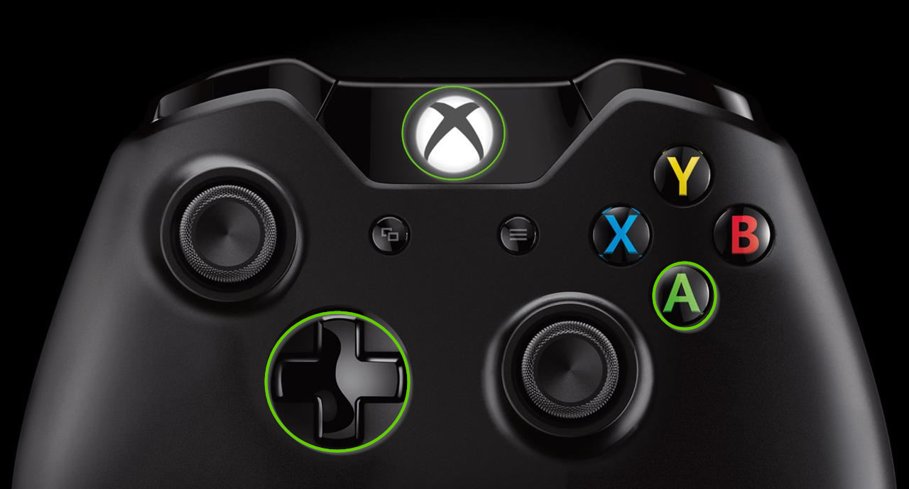 Xbox one controller showing the d pad and a button highlighted.