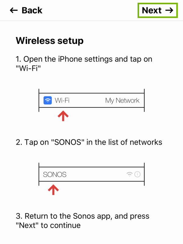 Next option highlighted on Wireless setup instructions screen within Sonos app.
