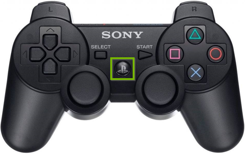 PS3 controller with PS button highlighted.