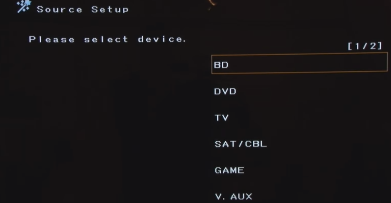 Denon receiver source setup screen prompting the user to select a type of source device.