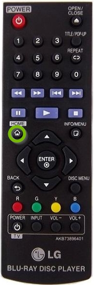 Remote with Home button selected.