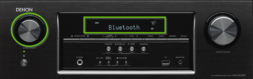 Denon receiver front panel highlighting the selector knob and the LCD display.