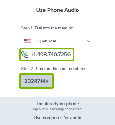 Phone number to dial and audio code to enter to join meeting with phone shown in BlueJeans app.