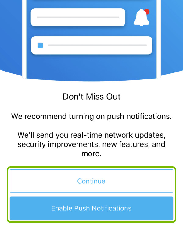 Continue and Enable Push Notifications buttons highlighted during first launch of the Orbi app.