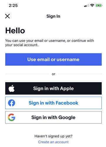eBay app sign in screen