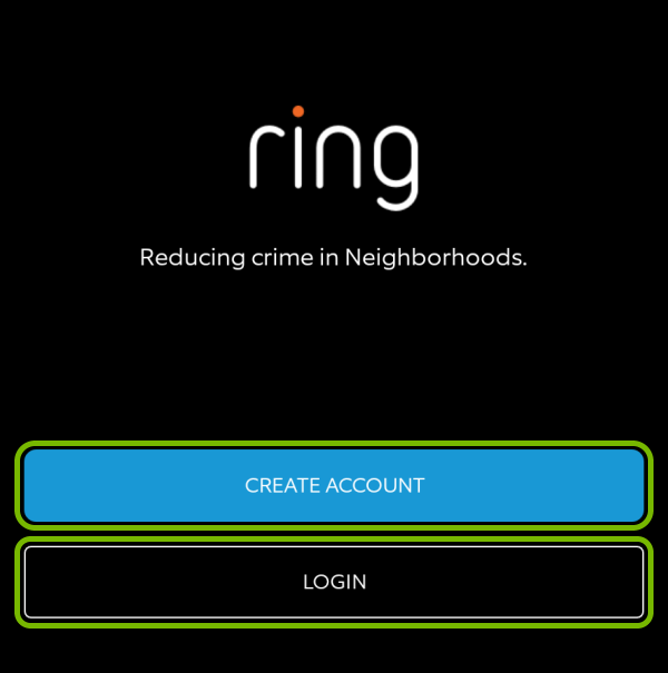 Create Account and Login buttons highlighted in Ring app during first launch.
