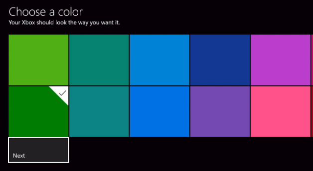 Choose a color selection screen. Screenshot.