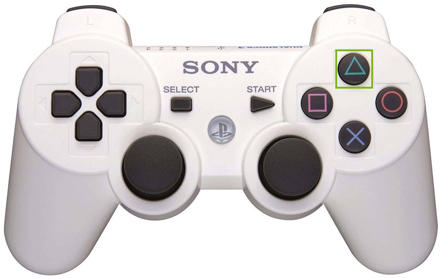 PS3 controller with Triangle button highlighted. Screenshot.