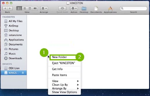 Control-clicking in the USB drive folder and selecting New Folder. Screenshot.