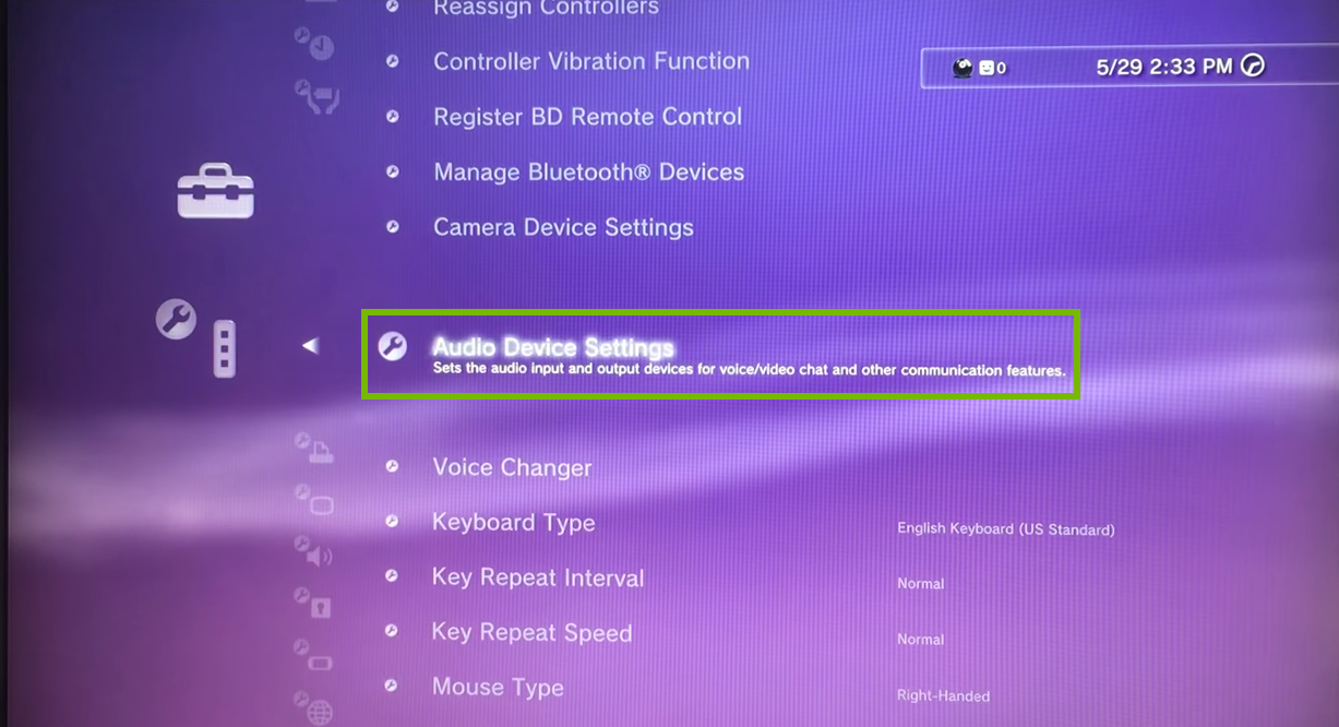Accessory Settings menu with Audio Device Settings selected. Screenshot.