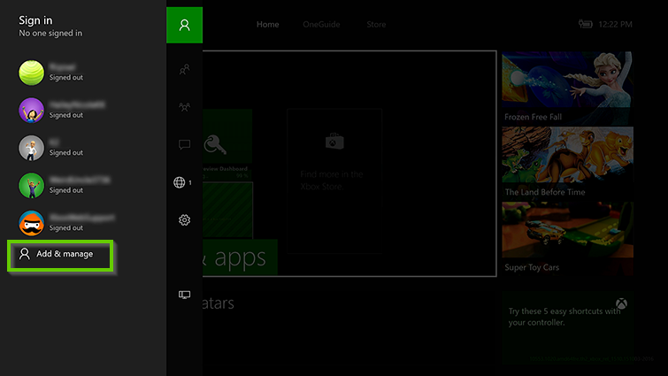 Xbox menu showing add and manage selected.