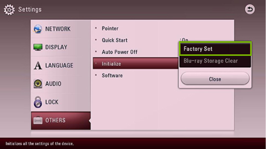 Initialize menu with Factory Set selected. Screenshot.