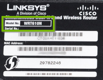 Label with Model number highlighted.