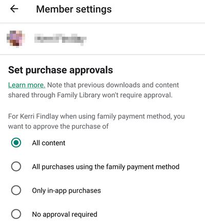 member settings