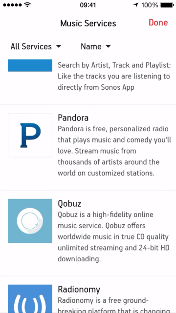 List of music services that can be added to the Sonos Controller