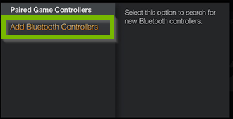 Paired Game Controllers screen with Add Bluetooth Controllers selected.