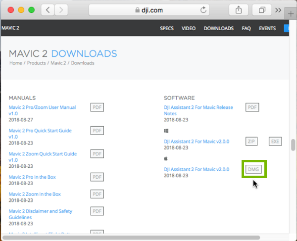DJI downloads page with DMG highlighted. Screenshot
