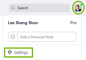 The settings option under your profile