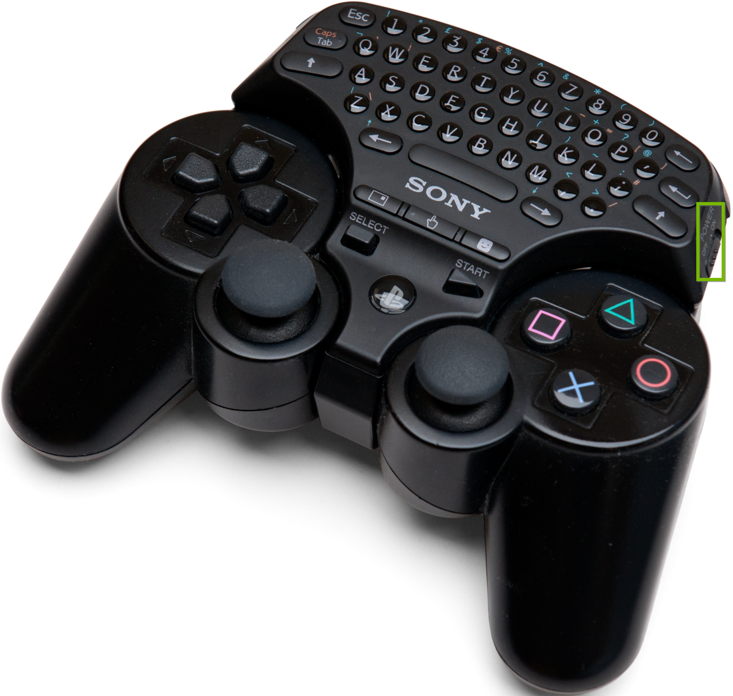 Keypad connected to PS3 controller with power switch toggled on.