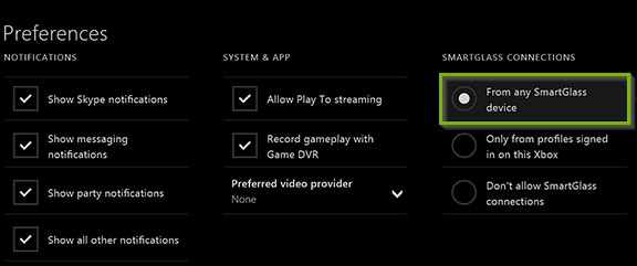 Xbox preferences screen with From any SmartGlass device selected. Screenshot.