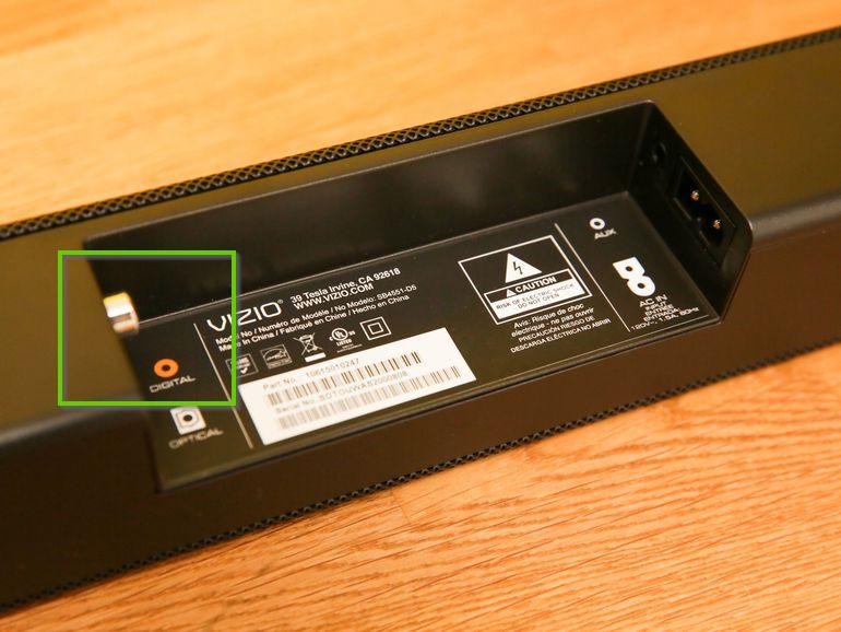 Vizio soundbar's digital coaxial connection port.