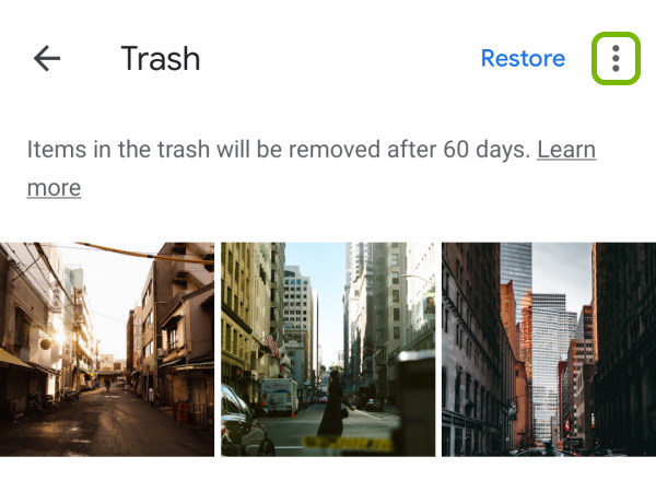 More icon highlighted in Google Photos app Trash folder on Android.