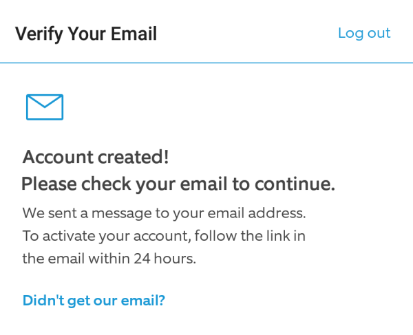 Email verification message showing in Ring app during account creation.