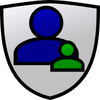 A shield with a parent and child on it.